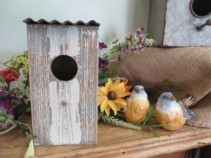 Wooden Bird House White Washed Wooden Bird House