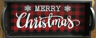 Wooden Buffalo Plaid Merry Christmas Tray