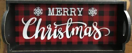 Wooden Buffalo Plaid Merry Christmas Tray