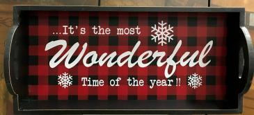Wooden Buffalo Plaid Wonderful Time Tray