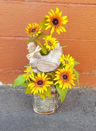 Silk Wooden chicken, sunflowers in a tin container Silk flower arrangement