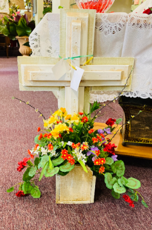 Wooden Cross with Floral Arrangement
