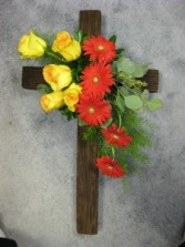 Wooden Cross with Fresh Flowers Fresh Flowers