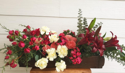 Wooden Flower Box Love! Fresh Flower Arrangement