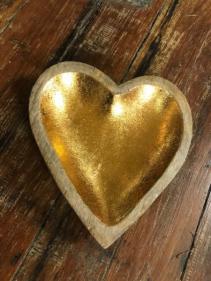 Wooden Gold Heart Dish