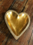 Wooden Gold Heart Dish