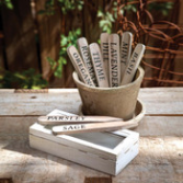 Wooden Herb Plant Stakes in Wooden Box, Set of 9 Gifts