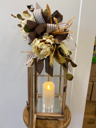 Wooden Lantern with timer LED candle