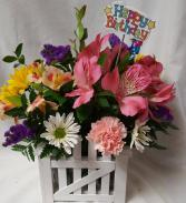 WOODEN PICKET FENCE CONTAINER FILLED WITH SUMMER FLOWERS AND HAPPY BIRTHDAY PIC!