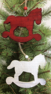 Wooden rocking horse Tree ornament