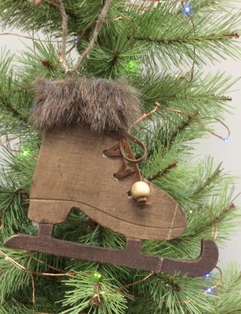 Wooden skate Christmas ornament Engraved ornament