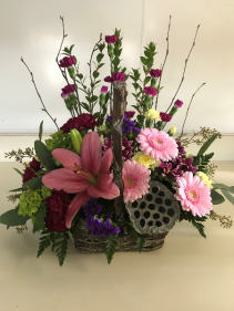 Woodland Beauty Basket Fresh Arrangement