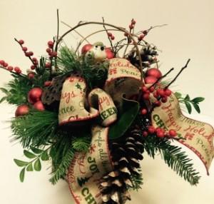 Woodland Christmas birch box arrangement in Northport, NY | Hengstenberg's Florist