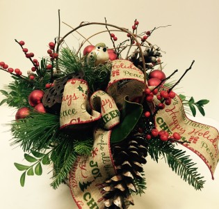 Woodland Christmas birch box arrangement