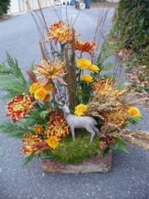 Woodland Deer Arrangement of Mums, Grasses, & Evergreens Shown at $115.00
