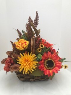 Woodsy Autumn Basket Silk Or Real Flowers