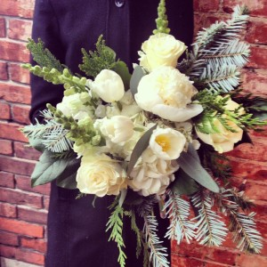 Woodsy Monochromatic Winter  Handtied Bouquet