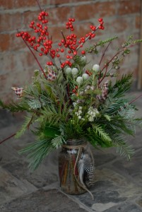 Woodsy Winter Mason Jar Arrangement