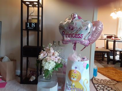 wow a girl is born baby girl splash, stuff animal, balloon and flowers