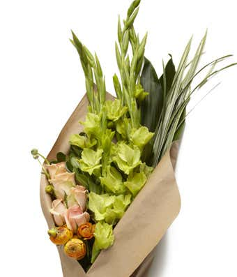 Wrapped Blooms A nice seasonal assortment of flowers wrapped in kraft paper for a nice presentation! Price 2 will get you a bigger bunch of flowers as will price 3.