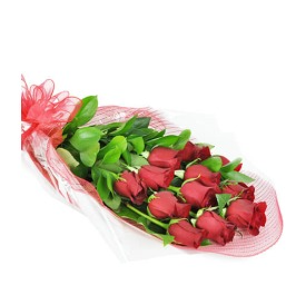 Wrapped Long-Stemmed Red Roses Hand Tied Bouquet