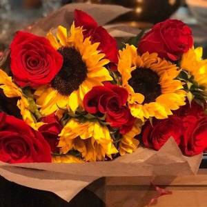 Wrapped Roses & Sunflowers HAND TIED BOUQUET in Charlotte, NC   Plush Blooms of Charlotte