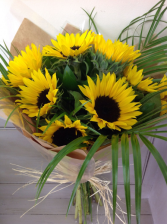 Wrapped Sunflowers  Hand Tied Vase Ready Bouquet
