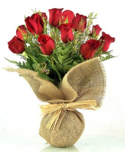 Wrapped Vase Bouquet Dozen Roses Rose in Winston Salem, NC | RAE'S NORTH POINT FLORIST INC.