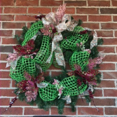 Burgundy & Mauve Holiday Sparkle  Holiday Forever Flower Wreath