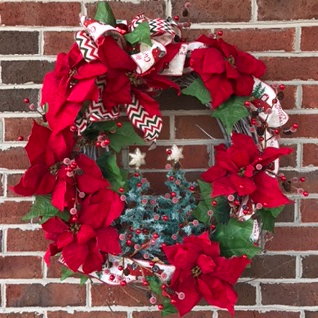 Old Fashioned Christmas Holiday Forever Flower Wreath