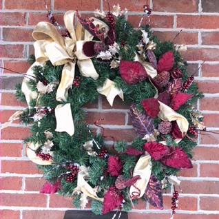 Forever Frosted Burgundy and Gold Holiday Forever Flower Wreath
