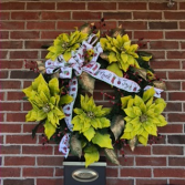 Lime green & Gold Joy Holiday Forever Flower Wreath