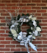 Pewter & Silver Elegance Holiday Forever Flower Wreath