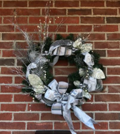 Pewter & Silver Elegance Holiday Forever Flower Wreath