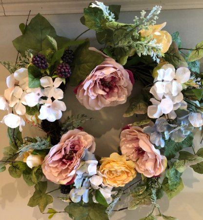 Permanent botanical spring wreath