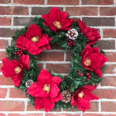 Christmas Magnolias Holiday Forever Flower Wreath