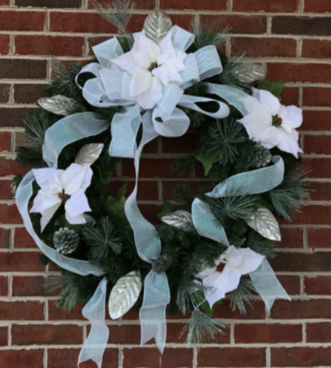 Iridescent Snow Poinsettia Holiday Forever Flower Wreath