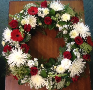 wreath of red and white sympathy wreath