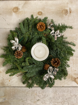Wreath Table Centerpiece with pillar candle Wintery Gift  in Toronto, ON | THE NEW LEAF FLOWERS & GIFTS
