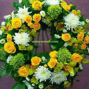 Yellow Roses & Orchid Wreath Sympathy Wreath in Chatham, NJ | SUNNYWOODS FLORIST