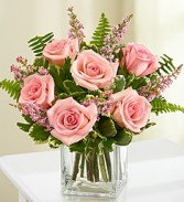 6 Pink Roses with filler in a cube vase! Very Popular!