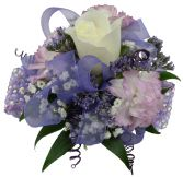 1 white Rose / 3 lavender min. carnations purple Wrist Corsage