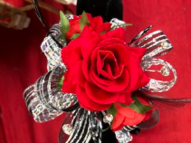 Wrist Corsage Beautiful silk red rose wrist corsage with double ribbon and sones.