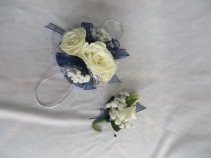 Wrist Corsage w/3 Roses Wrist Corsage and  Matching Bout