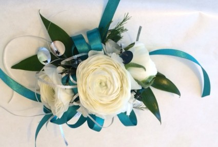 Wrist corsage with Ranunculus Weddings and Prom
