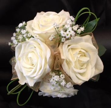 Wristlet w/ white spray roses & gold ribbon Prom