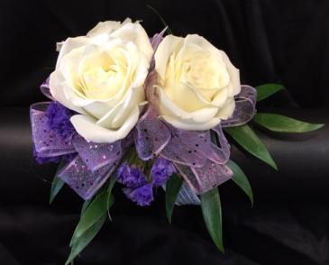 Wristlet w/ white spray roses & lavender ribbon Prom