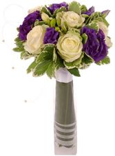 WHITE ROSE & PURPLE LISIANTHUS BRIDAL BOUQUET