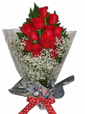 WFR1506  12 Red Roses Wrapped in Cellophane w Water Pouch