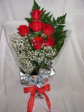 WFR1519  1/2 Dz Red Roses/Wrapped in Cellophane w Water Pouch